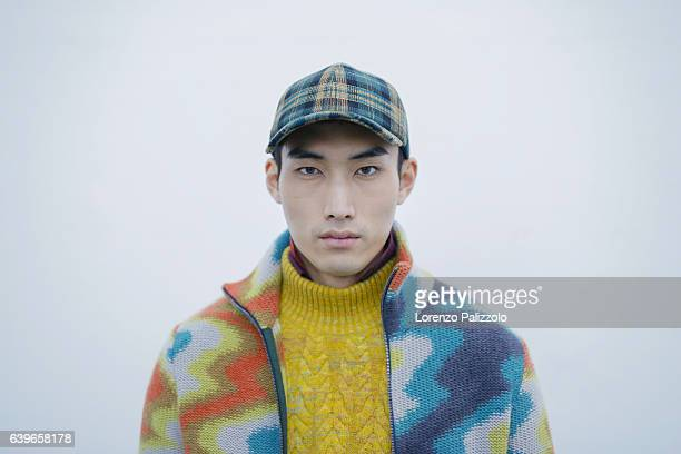 Model Do Byung Wook beauty backstage detail is seen backstage ahead of the Missoni show during Milan Men's Fashion Week Fall/Winter 2017/18 on...