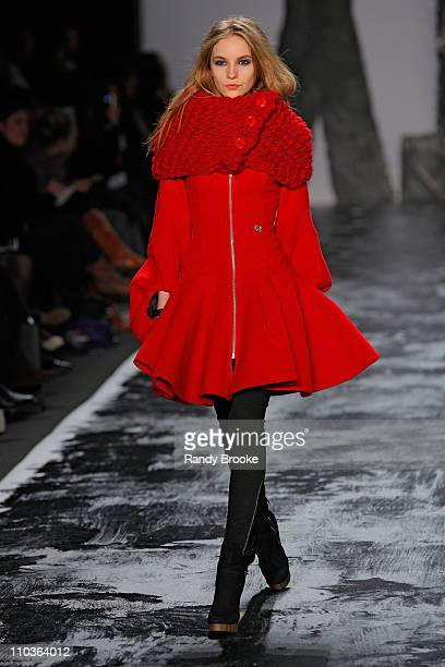 Model Dorothea Barth Jorgensen walks the runway at Miss Sixty during MercedesBenz Fashion Week Fall 2009 at The Tent in Bryant Park on February 15...