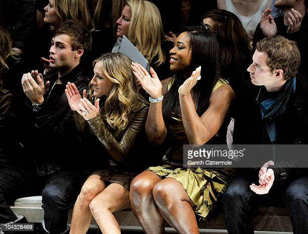 Model Douglas Booth, actress Sarah Jessica Parker, tennis player Serena Williams and tennis player Andy Murray attend the Burberry Prorsum...