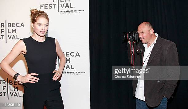 Model Doutzen Kroes and photographer Greg Marinovich attend the Tribeca Film Festival and Cinema Society premiere of the Bang Bang Club at BMCC...