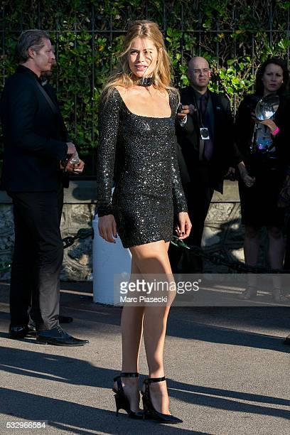 Model Doutzen Kroes arrives to attend the 'AMFAR' dinner during the annual 69th Cannes Film Festival on May 19 2016 in Antibes France