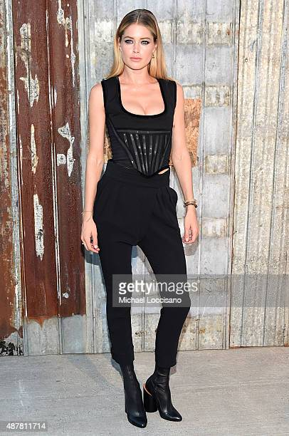 Model Doutzen Kroes attends the Givenchy fashion show during Spring 2016 New York Fashion Week at Pier 26 at Hudson River Park on September 11 2015...