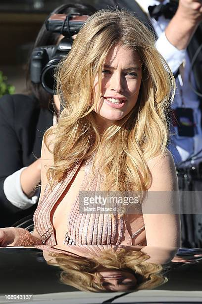 Model Doutzen Kroes is seen leaving the 'Grand Hyatt Hotel Martinez Cannes' during the 66th annual Cannes Film Festival on May 17 2013 in Cannes...