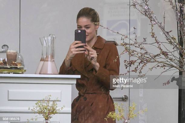 Model Doutzen Kroes is seen on the set of new 'L'Oreal' shooting at 'Broken Arm Cafe' on March 26 2018 in Paris France