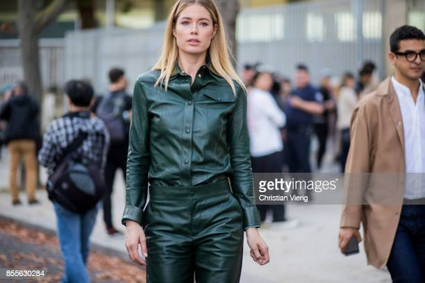 Model Doutzen Kroes is seen outside Loewe during Paris Fashion Week Spring/Summer 2018 on September 29 2017 in Paris France