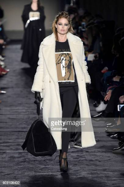 Model Doutzen Kroes walks the runway at the Max Mara Autumn Winter 2018 fashion show during Milan Fashion Week on February 22 2018 in Milan Italy