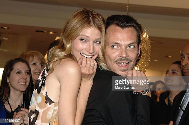 Model Dree Hemingway and designer Matthew Williamson attend the Matthew Williamson Impulse for Macy's Launch at Macy's Herald Square on April 13 2011...