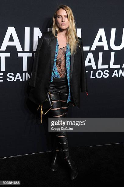 Model Dree Hemingway attends the Saint Laurent show at The Hollywood Palladium on February 10 2016 in Los Angeles California