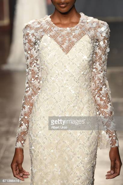 A model dress detail walks the runway at the Jenny Packham show during New York Fashion Week Bridal on April 21 2017 in New York City