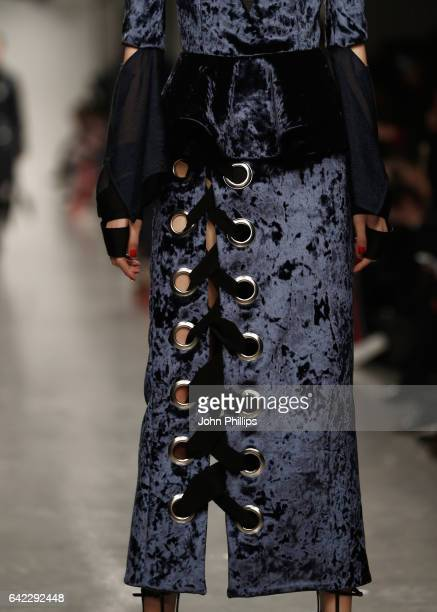 Model, dress detail, walks the runway at the Teatum Jones show during the London Fashion Week February 2017 collections on February 17, 2017 in...