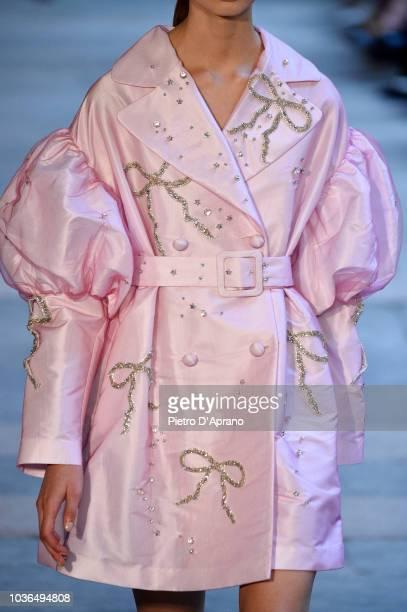 Model, dress detail walks the runway at the Vivetta show during Milan Fashion Week Spring/Summer 2019 on September 20, 2018 in Milan, Italy.