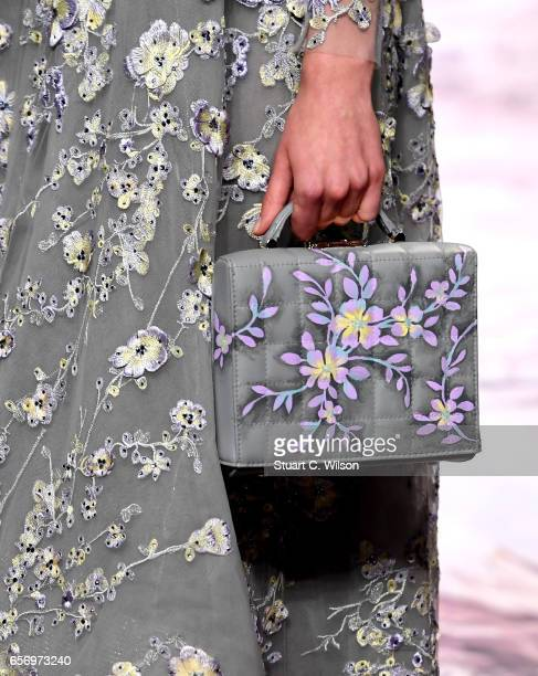 A model dress detail walks the runway during the Michael Cinco show at Fashion Forward March 2017 held at the Dubai Design District on March 23 2017...
