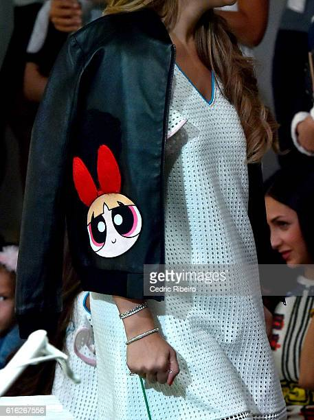 A model dress detail walks the runway during the Powerpuff Girls x S*ucette Presentation at Fashion Forward Spring/Summer 2017 held at the Dubai...
