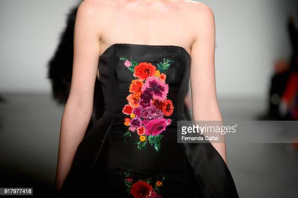 A model dress detail walks the runway for Zang Toi during New York Fashion Week The Shows at Pier 59 on February 13 2018 in New York City