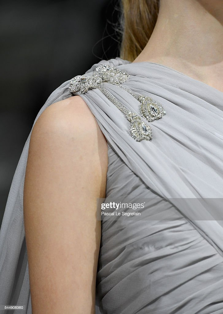 A model, dress detail,walks the runway during the Giambattista Valli Haute Couture Fall/Winter 2016-2017 show as part of Paris Fashion Week on July 4, 2016 in Paris, France.