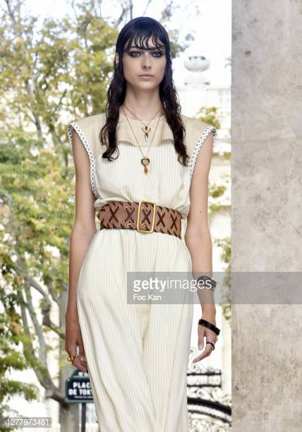 Model dressed by Chloe attends the Chloe Womenswear Spring/Summer 2021 show as part of Paris Fashion Week on October 01, 2020 in Paris, France.