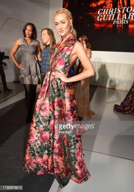 A model dressed by Christophe Guillarme attends the Christophe Guillarme show as part of the Paris Fashion Week Womenswear Fall/Winter 2019/2020 on...