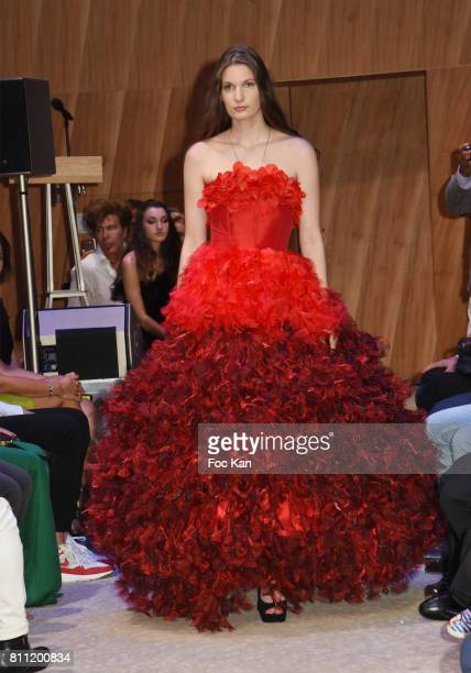 """Model dressed by Dimitry Vincent for Hello Diit walks the runway during the """"Paris Appreciation Awards 2017"""" At The Eiffel Tower on July 8, 2017 in..."""