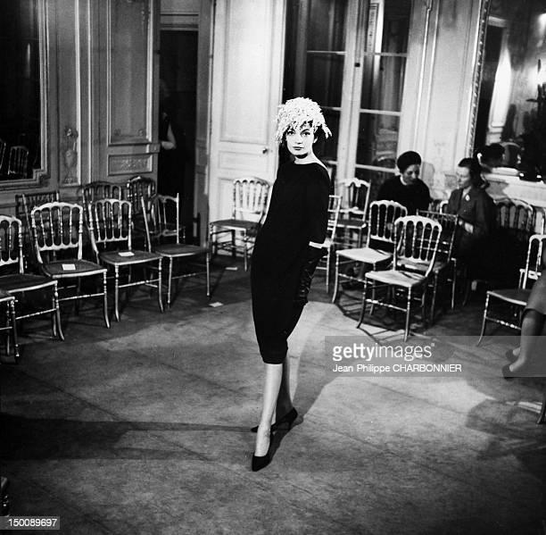 Model dressed by Pierre Cardin 1958 in Paris France