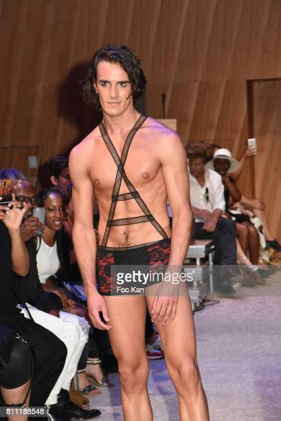 """Model dressed by Verone Creatrice walks the runway during the """"Paris Appreciation Awards 2017"""" At The Eiffel Tower on July 8, 2017 in Paris, France."""