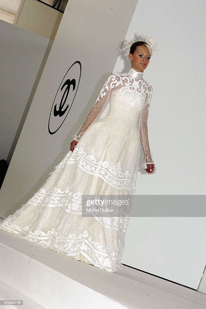A model dressed in a brides dress at the Chanel Spring/Summer 2005 Fashion Show during Paris Fashion Week on July 7, 2004 in Paris, France.