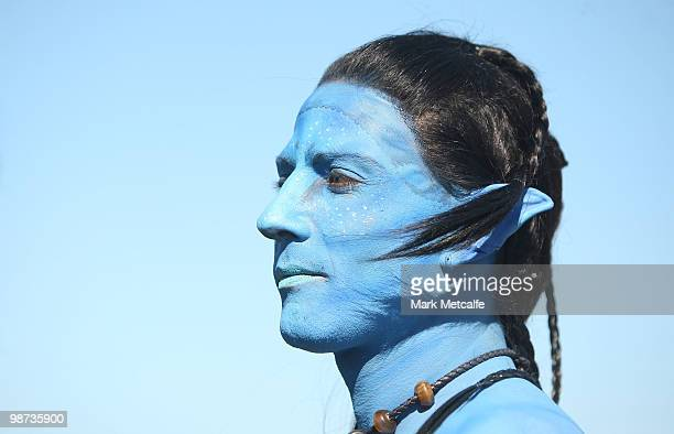 A model dressed up as a character from the film 'Avatar' poses during the launch of 'AVATAR' Bluray and DVD at Sydney Domestic Airport on April 29...