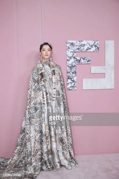 Model Du Juan attends Fendi fashion show on March 19, 2021 in Shanghai, China.