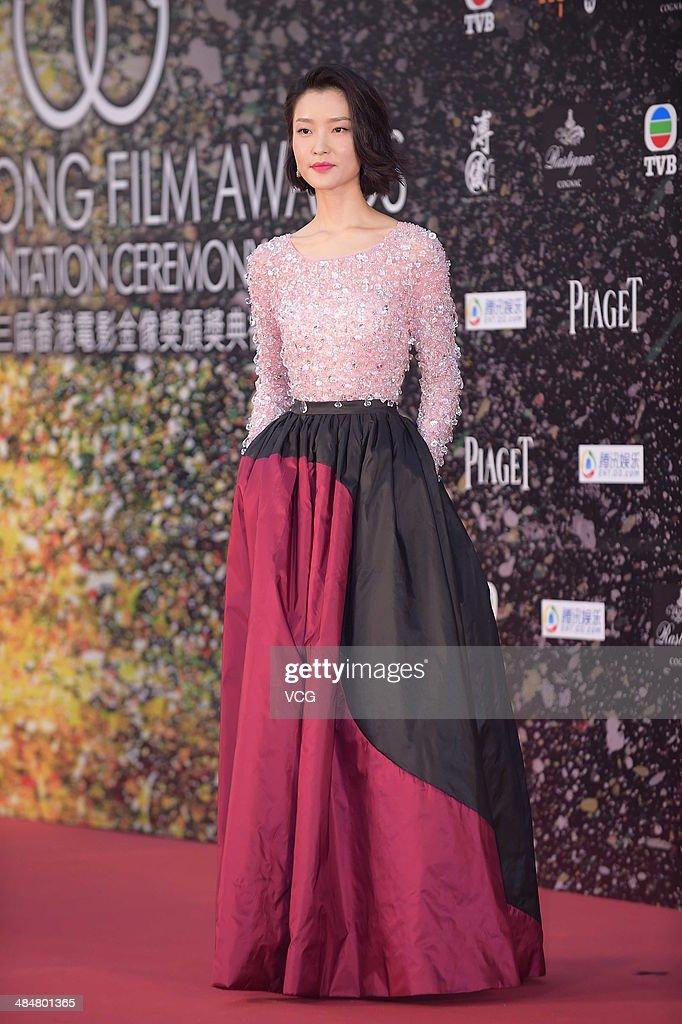 Model Du Juan attends the 33rd Hong Kong Film Awards red carpet on April 13, 2014 in Hong Kong, Hong Kong.