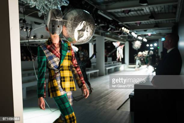 A model during rehearsal ahead of the Charles Jeffrey Loverboy show at London Fashion Week Men's June 2018 at the BFC Show Space on June 11 2018 in...