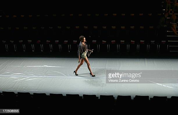 A model during rehearsals prior to the Arrey Kono Nadir Tati Romero Bryan Show during MercedesBenz Fashion Week Spring/Summer 2014 at Brandenburg...