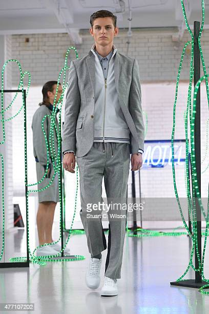 A model during the Baartmans and Siegel presentation during The London Collections Men SS16 at Victoria House on June 14 2015 in London England