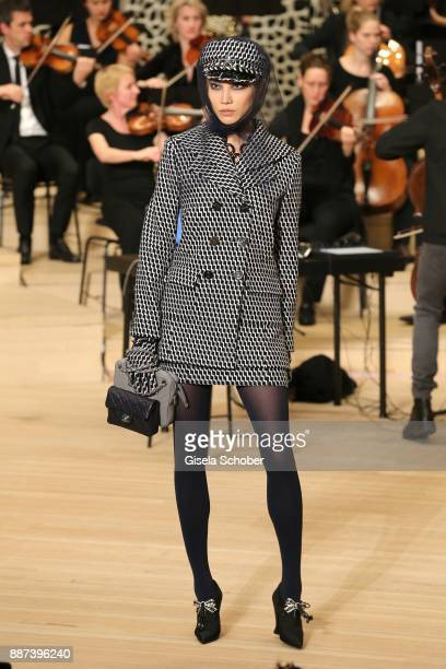 A model during the Chanel Trombinoscope collection Metiers d'Art 2017/18 show at Elbphilharmonie on December 6 2017 in Hamburg Germany