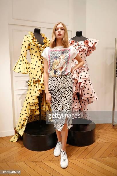 Model during the Emanuel Ungaro fashion show during Paris Women's Fashion Week Spring/Summer 2021 on October 2, 2020 in Paris, France.