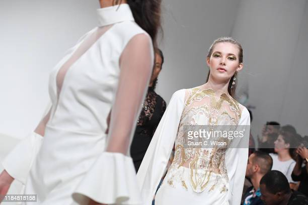 A model during the FFWD October Edition 2019 at the Dubai Design District on October 31 2019 in Dubai United Arab Emirates