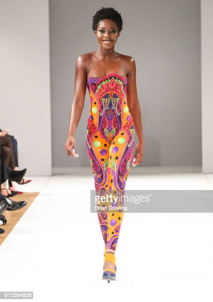 A model during the Gianni Versace Retrospective runway show opening event at Kronprinzenpalais on January 30 2018 in Berlin Germany The exhibition on...