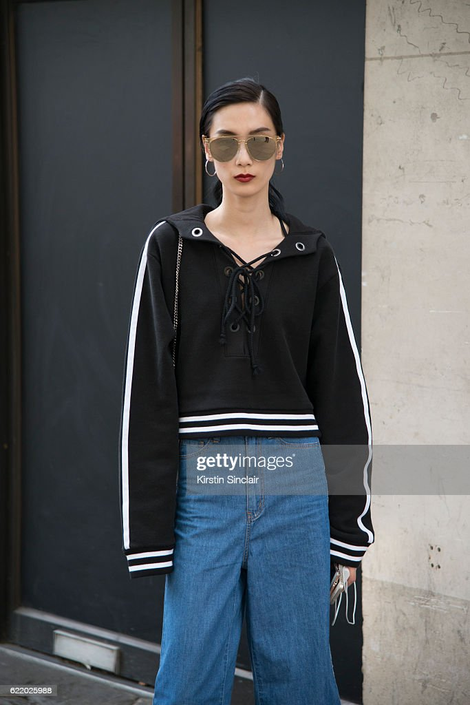 a17b477e0 Model Dylan Xue wears Fendi sunglasses, vintage top and jeans day 4 ...