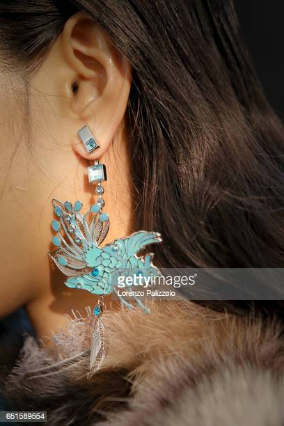 Model, earring detail, is seen backstage before the Shiatzy Chen show as part of the Paris Fashion Week Womenswear Fall/Winter 2017/2018 on March 7,...