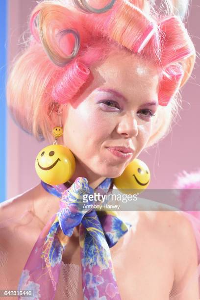 A model earring detail poses at the Billie Jacobina presentation at Fashion Scout during the London Fashion Week February 2017 collections on...
