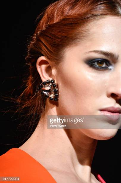 A model earring detail walks the runway for Carolina Herrera during New York Fashion Week at The Museum of Modern Art on February 12 2018 in New York...