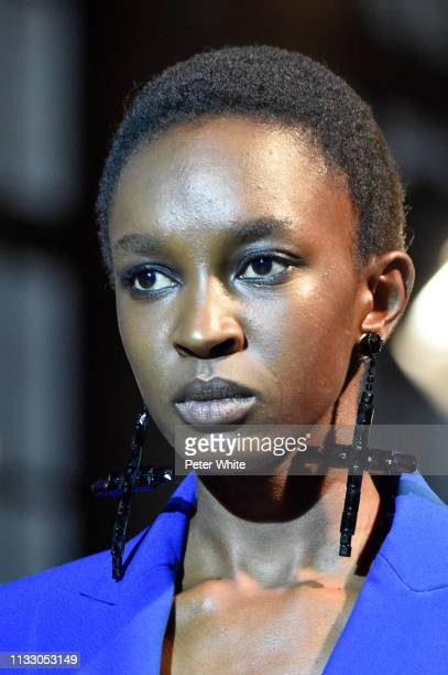 A model earrings detail walks the runway during the Andrew GN show as part of the Paris Fashion Week Womenswear Fall/Winter 2019/2020 on March 01...
