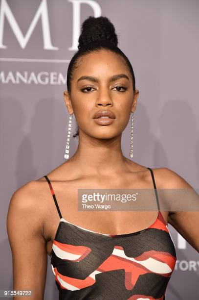 Model Ebonee Davis attends the 2018 amfAR Gala New York at Cipriani Wall Street on February 7 2018 in New York City