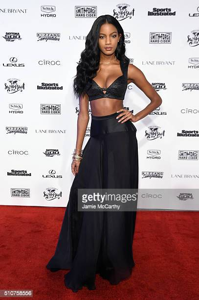 Model Ebonee Davis attends the Sports Illustrated Swimsuit 2016 NYC VIP press event on February 16 2016 in New York City