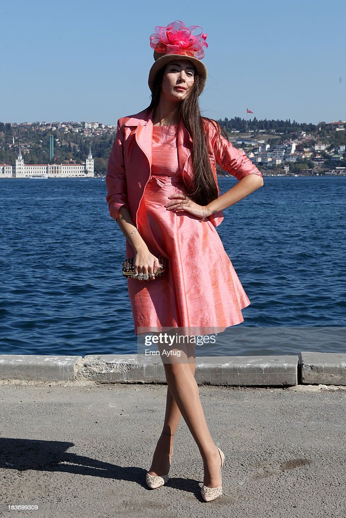 Model Ece Gursel wears Selma State dress, Zara shoes and Alexander Mc Queen bag during Mercedes-Benz Fashion Week Istanbul s/s 2014 presented by American Express on October 9, 2013 in Istanbul, Turkey.