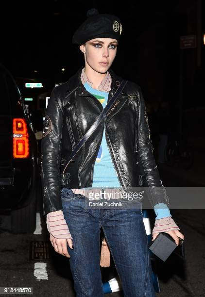 Model Edie Campbell is seen wearing a leather coat and blue jeans outside the Marc Jacobs show during New York Fashion Week Women's A/W 2018 on...