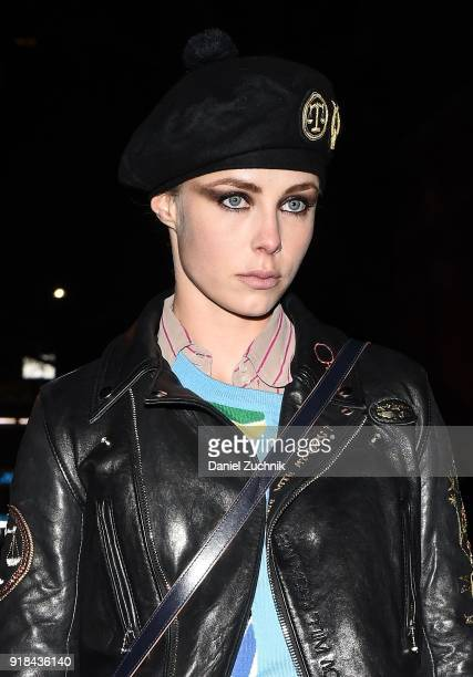 Model Edie Campbell is seen wearing a leather coat outside the Marc Jacobs show during New York Fashion Week Women's A/W 2018 on February 14 2018 in...