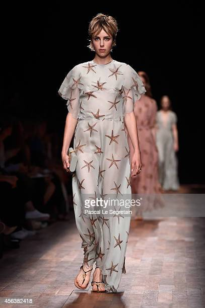 Model Edie Campbell walks the runway during the Valentino show as part of the Paris Fashion Week Womenswear Spring/Summer 2015 on September 30, 2014...