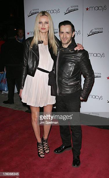 Model Edita Vilkeviciute and Designer Kinder Aggugini attends the launch of Kinder Aggugini's capsule collection for IMPUSLE at Macy's Herald Square...