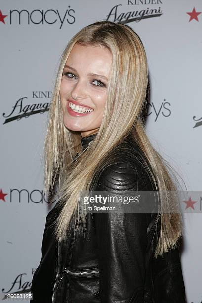 Model Edita Vilkeviciute attends the launch of Kinder Aggugini's capsule collection for IMPUSLE at Macy's Herald Square on February 15 2011 in New...