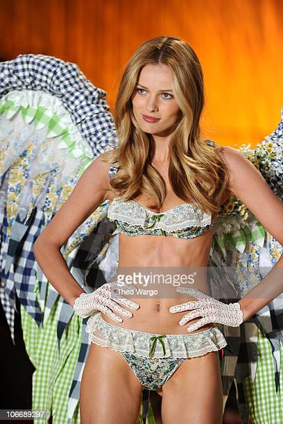 Model Edita Vilkeviciute walks the runway during the 2010 Victoria's Secret Fashion Show at the Lexington Avenue Armory on November 10 2010 in New...
