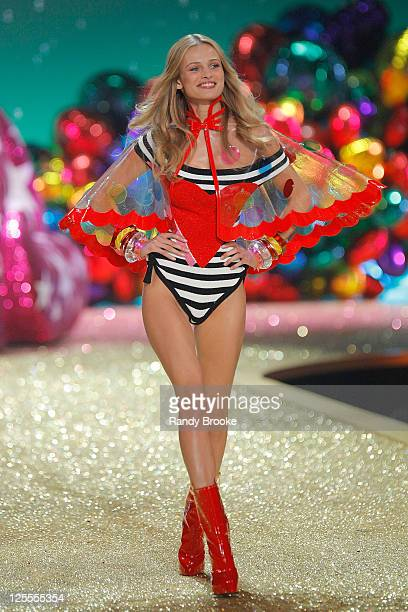 Model Edita Vilkeviciute walks the runway during the 2010 Victoria's Secret Fashion Show at the Lexington Avenue Armory on November 10, 2010 in New...